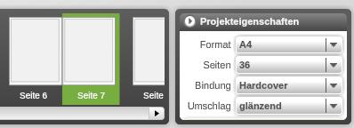 Bild der Projekteigenschaften mti Format, Seiten, Bindung und Umschlag